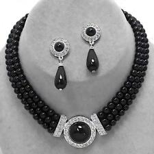 Black Pearl Clear Crystal Multi Layered Necklace Earrings Jewelry Set