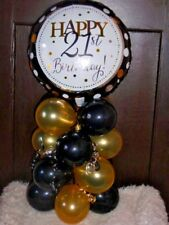FOIL BALLOON  TABLE DECORATION DISPLAY AGE 21 21ST BIRTHDAY BLACK & GOLD