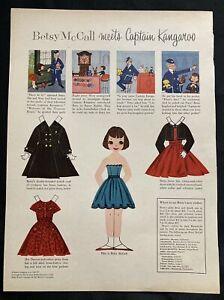 Vintage Betsy McCall Mag. Paper Dolls, Betsy Meets Captain Kangaroo, Nov. 1957
