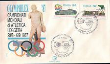 FDC ITALIA PRIMO GIORNO DI EMISSIONE 1987 CAMPIONATI ATLETICA LEGGERA ROMA 7-22