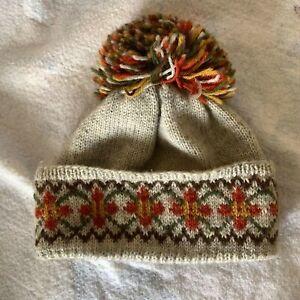 Vintage HANDKNIT  Nordic SKI HAT Pom Pom