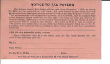 AR-006 - 1928 Notice to Taxpayers, Marion County, FL, Property Tax Notice Vintge