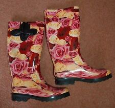 New 6 Rose Welly Wellies Wellington Boots Ridged non-slip Soles Pink Festivel