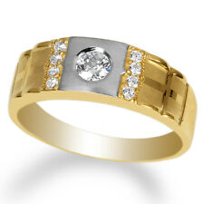 w/ Clear Band Ring Size 8-12 Mens 14K Yellow Gold Solid Round Cz