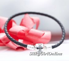Pandora Black Single Strand Leather Woven Cord Charm Bracelet 590705CBK-S2 (7.5)