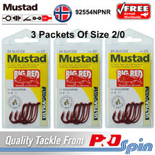 3 Packets Mustad Big Red Hooks Size 2/0 Chemically Sharpened 2X Strong 92554NPNR