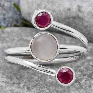 Natural Gray Moonstone and Ruby 925 Sterling Silver Ring s.8 Jewelry E506
