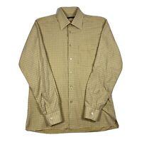 Ermenegildo Zegna Mens Medium Orange Plaid Long Sleeve Hidden Button Down Shirt