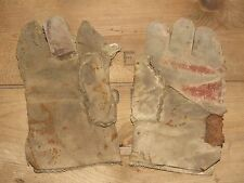 08D4 ANCIENNE PAIRE DE GANTS PEAU DE CHÈVRE ARTISANAT ANGLAIS 14/18 BRITISH WWI