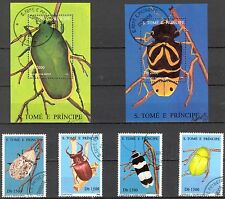 Sao Tome and Principe 1996 Insects Bugs Set of 4 +2 S/S Used