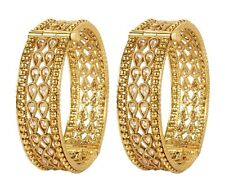 Indian Bollywood Gold Plated Tone Indian Polki Traditional Bangles Set For women
