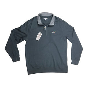 NWT Greg Norman Size L Lux Cotton 1/4 Zip Pullover Black Performance