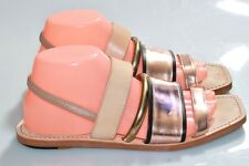 Elizabeth and James Square Toe Ankle Strap Metallic Strappy Flat Sandals Shoes 9