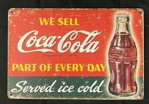 Coca Cola Vintage Antique Collectible Tin Metal Sign Wall Decor