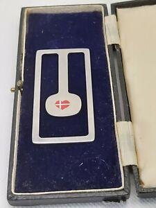 Vintage Georg Jenson Stainless Steel money clip(love heart danish flag)