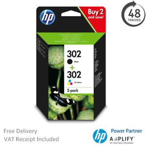 Original HP 302 Black & Colour Ink Cartridge X4D37AE Multipack F6U65A / F6U66A