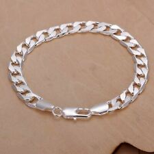 925  Sterling Silver Plated Curb Chain 10 mm Bracelet 18cm Length