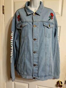 Rue21 Mens Light Wash Rose Worldwide Embroidered Jean Jacket Size XXL