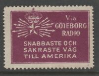 Sweden America Telegraph seal label Cinderella stamp 7-9-19 scarce item no gum