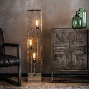 Stehlampe, Standleuchte, Holz, Vintage, Industrial, Design, Eckig, 3-flammig