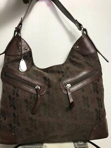 Tula Canvas/Leather Slouch Handbag carry/shoulder Roomy medium everyday bag LOGO