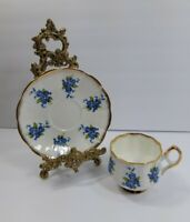 Stratford Blue Floral Cup and Saucer Gold Trim Fine Bone China Made in England