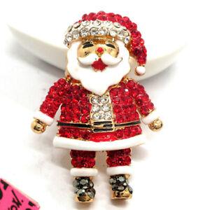 Betsey Johnson Enamel Red Crystal Santa Claus Christmas Brooch Pin Gifts