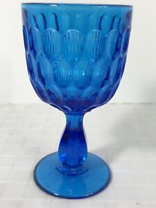 Fenton Cobalt Colonial Blue Thousand Thumbprint 3 Mold Goblet