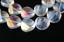 Bulk 10pcs Clear AB Glass Crystal Twist Tile Beads 14mm Spacer Jewelry Findings