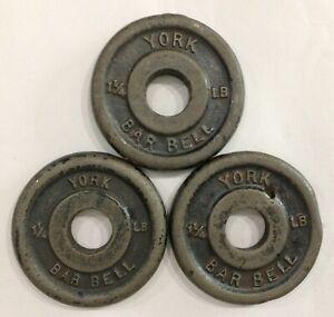 Lot Of 3 1 1/4 Ib Vintage York Metal Weight Lifting Plates