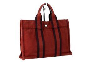 Auth HERMES Paris Fourre Tout MM Red Coton Canvas Small Tote Hand Bag France