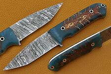 """9"""" Custom Hand forged Damascus Steel Hunting Knife with Pinecone Resin Handle"""