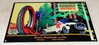 """VINTAGE """"SEARS ROEBUCK AND COMPANY JUSTICE TIRES"""" 12"""" METAL GASOLINE & OIL SIGN!"""