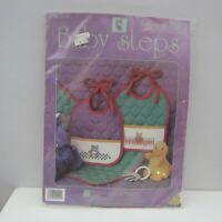 Baby Steps Bib Set Cross Stitch Kit Purple Pink Green 2 Bibs Bear Bunny New 9104