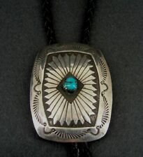 Bolo Tie Sterling Turquoise Stone Vintage Silver 925 Slide Stamped Bolo Tie