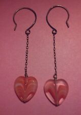 Dangle earrings vintage glass heart beads clear coral pink chain love Valentine