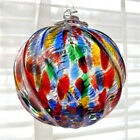 """Hanging Glass Ball 4"""" Clear Ridged Red, Blue, Green, Yellow Specks (1) HB56"""