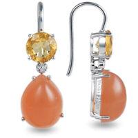 Orange Moonstone Citrine Diamond Gemstone 14ct White Gold Earrings