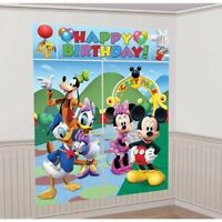 MICKEY MOUSE SCENE SETTER Happy Birthday Backdrop Party Wall Decoration Kit NEW