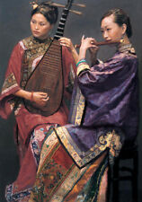 Excellent Oil painting Duet nice Chinese young women playing Pipa and flute