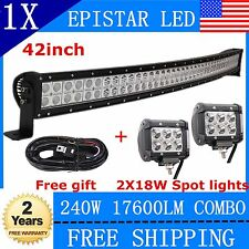 42'' 240W Curved LED Light Bar+2X4'' 18W Cree Pods Offroad Lighting Truck+Wiring