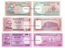 Bangladesh 2 + 5 + 10 Taka Set of 3 Banknotes 3 PCS  UNC
