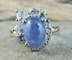 Natural Violet Purple Tanzanite Oval Cabochon Sterling Silver Ring Size 7 #508
