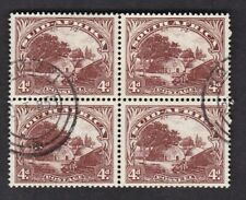 South Africa 1930/44 4d brown solid scroll SG46 block 4 FU fine used