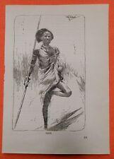 Schilluk Süd Sudan  Wilhelm Kuhnert Afrika  Holzstich 1920