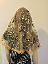 Exquisite Brown Ivory Gold Veil Lace Mantilla Mother of the Bride sequined - LV
