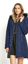 Love Label Faux Fur Hooded Padded Blue Coat Size 16 New