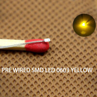 T0603Y 20pcs Pre-soldered micro litz wired leads YELLOW SMD Led 0603 NEW
