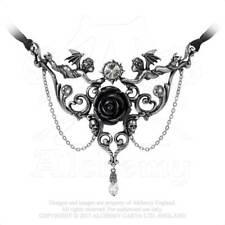 Alchemy Mesukmus Necklace Black Rose Skulls Gothic Swarovski Jewellery P795
