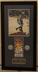 STEPHEN CURRY FRAMED PHOTO 2015 NBA CHAMPIONSHIP W/REPLICA GAME 4 FINALS TICKET